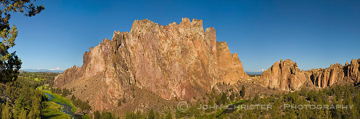 A stitched panorama of the west wall from Smith Rock State Park; taken in the early morning; mountains L > R = Mt.Bachelor, Broken Top, South Sister, Mt. Jefferson.