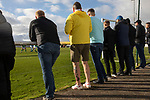 Holker Old Boys 2 Crook Town 1, 10/10/2020. Rakesmoor, FA Vase second round qualifying. Away supporters watching the second-half action as Holker Old Boys take on Crook Town in an FA Vase second round qualifying tie at Rakesmoor, Barrow-in-Furness. The home club was established in 1936 as Holker Central Old Boys and was initially an under-16 team for former pupils of the Holker Central Secondary School. Holker from the North West Counties League beat their Northern League opponents 2-1, watched by a crowd of 147 spectators. Photo by Colin McPherson.