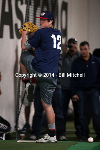 Peter Lambert participates in the a showcase for scouts at the PFA training facility in Upland, California on December 26, 2014 (Bill Mitchell)