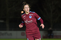 Gwen Duijsters (22) of KRC Genk pictured during a female soccer game between  AA Gent Ladies and Racing Genk on the 12 th matchday of the 2020 - 2021 season of Belgian Scooore Womens Super League , friday 29 th of January 2021  in Oostakker , Belgium . PHOTO SPORTPIX.BE | SPP | DIRK VUYLSTEKE