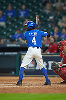 Zeke Lewis (4) of the Kentucky Wildcats at bat against the Louisiana Ragin' Cajuns in game seven of the 2018 Shriners Hospitals for Children College Classic at Minute Maid Park on March 4, 2018 in Houston, Texas.  The Wildcats defeated the Ragin' Cajuns 10-4. (Brian Westerholt/Four Seam Images)