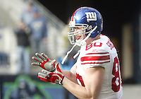 27 Nov 2005:   New York Giants tight end Jeremy Shockey warmed up before the start of the game against the Seattle Seahawks at Qwest Field in Seattle, Washington.