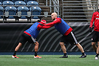 SEATTLE, WA - NOVEMBER 9: Michael Bradley #4 of Toronto FC stretches at CenturyLink Field on November 9, 2019 in Seattle, Washington.