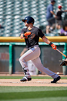 J.D. Davis (26) of the Fresno Grizzlies follows through on a swing during a game against the Salt Lake Bees at Smith's Ballpark on September 3, 2018 in Salt Lake City, Utah. The Grizzlies defeated the Bees 7-6. (Stephen Smith/Four Seam Images)