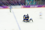 Team of Sweeden celebrates after winning during the match between Sweden vs Czech Republic during their Men's Ice Hockey Preliminary Round Group C game on day five of the 2014 Sochi Olympic Winter Games at Bolshoy Ice Dome on February 12, 2014 in Sochi, Russia. Photo by Victor Fraile / Power Sport Images