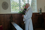 St Walstans Day, Bawburgh, St Mary and Saint Walstan's Church Norfolk 2018. Church members gather for Sunday church service and then process to the Holy healing well not far away.  <br /> <br /> Bishop Tony Foottit dedication of St Walstans Commemorative Tablet.<br /> <br /> St Walstan dedicated his life to farming and the care of farm animals, he is the patron saint of saint of farm workers, farmers and farm animals. He died 30 May 1016, while at work in a meadow.
