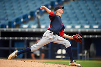 Pitcher Noah Murdock (29) of Colonial Heights High School in Colonial Heights, Virginia playing for the Cleveland Indians scout team during the East Coast Pro Showcase on July 28, 2015 at George M. Steinbrenner Field in Tampa, Florida.  (Mike Janes/Four Seam Images)