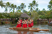 Samoan dancers, dressed in lavalava to honor the beauty of the sunsets of Polynesia, Polynesian Cultural Center, Laie, Oahu, Hawaii, USA