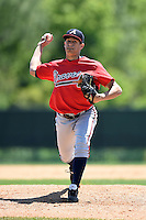 Atlanta Braves pitcher Alec Grosser (80) during a minor league spring training game against the Washington Nationals on March 26, 2014 at Wide World of Sports in Orlando, Florida.  (Mike Janes/Four Seam Images)