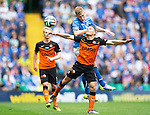 St Johnstone v Dundee United....17.05.14   William Hill Scottish Cup Final<br /> David Wotherspoon gets above John Rankin<br /> Picture by Graeme Hart.<br /> Copyright Perthshire Picture Agency<br /> Tel: 01738 623350  Mobile: 07990 594431