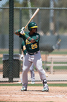 Oakland Athletics first baseman Alonzo Medina (25) at bat during an Extended Spring Training game against the San Francisco Giants Orange at the Lew Wolff Training Complex on May 29, 2018 in Mesa, Arizona. (Zachary Lucy/Four Seam Images)