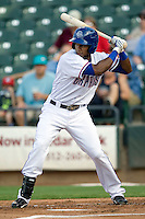 Round Rock Express outfielder Julio Borbon #20 at bat in a game against the Memphis Redbirds at the Dell Diamond on July 7, 2011in Round Rock, Texas.  Round Rock defeated Memphis 6-4.  (Andrew Woolley / Four Seam Images)