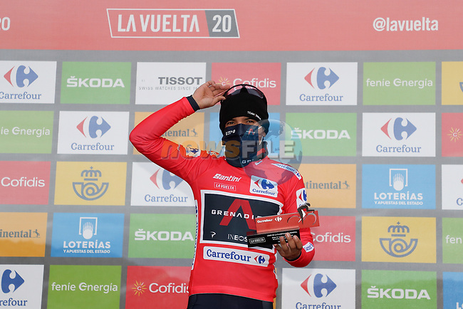 Richard Carapaz (ECU) Ineos Grenadiers retakes the race leaders Red Jersey at the end of Stage 12 of the Vuelta Espana 2020 running 109.4km from Pola de Laviana to Alto de l'Angliru, Spain. 1st November 2020..    <br /> Picture: Luis Angel Gomez/PhotoSportGomez | Cyclefile<br /> <br /> All photos usage must carry mandatory copyright credit (© Cyclefile | Luis Angel Gomez/PhotoSportGomez)