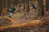 Rowan Sorrell followed by Steve and Ben , riding the blue trail ;  Swinley Forest ,  opening of the new trails  , May  2013.      pic copyright Steve Behr / Stockfile