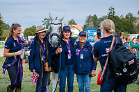 GBR-Kitty King's Vendredi Biats gets a lot of attention before the Prizegiving. 2021 SUI-FEI European Eventing Championships - Avenches. Switzerland. Sunday 26 September 2021. Copyright Photo: Libby Law Photography