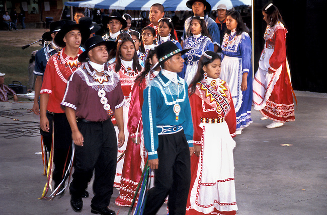 Young Chickasaw dancers dressed in traditional clothing demonstrate their handed down songs and dances
