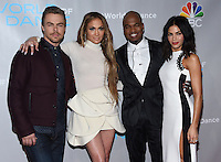 Derek Hough + Jennifer Lopez + Ne-Yo + Jenna Dewan-Tatum @ the NBC World of Dance photo opportunity held @ the Universal studios stage 29. January 25, 2017 , Universal City, USA. # PHOTOCALL DU JURY DE L'EMISSION 'WORLD OF DANCE'