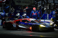 28-31 January, 2016, Daytona Beach, Florida USA<br /> 66, Ford, GT, GTLM, Joey Hand, Dirk Muller, Sebastien Bourdais makes a pit stop.<br /> ©2016, F. Peirce Williams