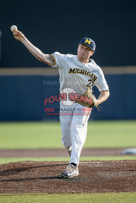 Michigan Wolverines pitcher Jayce Vancena (20) delivers a pitch to the plate against the Eastern Michigan Eagles on May 16, 2017 at Ray Fisher Stadium in Ann Arbor, Michigan. Michigan defeated Eastern Michigan 12-4. (Andrew Woolley/Four Seam Images)