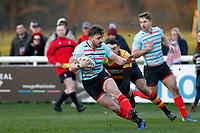 Ben Ransom of Blackheath Rugby brings the ball out during the English National League match between Richmond and Blackheath  at Richmond Athletic Ground, Richmond, United Kingdom on 4 January 2020. Photo by Carlton Myrie.