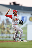 Brooklyn Cyclones shortstop Amed Rosario (1) throws to first during a game against the Batavia Muckdogs on August 9, 2014 at Dwyer Stadium in Batavia, New York.  Batavia defeated Brooklyn 4-2.  (Mike Janes/Four Seam Images)