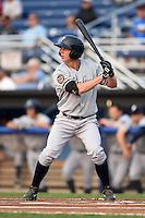 Staten Island Yankees outfielder Collin Slaybaugh (26) at bat during a game against the Batavia Muckdogs on August 7, 2014 at Dwyer Stadium in Batavia, New York.  Staten Island defeated Batavia 2-1.  (Mike Janes/Four Seam Images)