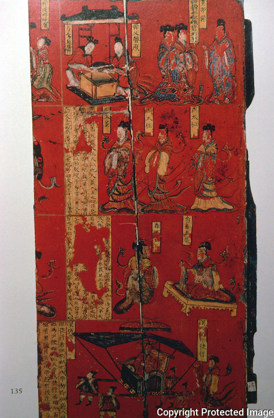 China:  Lacquer Painting on wood.  Northern Wei (386-535 A.D.)