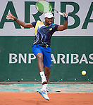 Donald Young (USA) takes the first set against Feliciano Lopez (ESP) at Roland Garros being played at Stade Roland Garros in Paris, France on May 29, 2014
