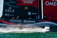13th March 2021; Waitemata Harbour, Auckland, New Zealand;  Emirates Team New Zealand before the start of race five on day three of the America's Cup presented by Prada against Luna Rossa Prada Pirelli Team.