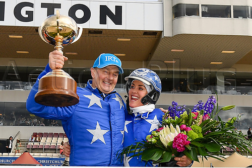 10th November 2020; Christchurch, New Zealand;  Driver Mark Purdon and Trainer Natalie Rasmussen  win with Self Assured  the NZ Trotting Cup at Addington Raceway, Christchurch, New Zealand