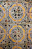 Ceramics, Sidi Bou Said, Tunisia.  Tiles in the Garden of the Residence of the Baron d'Erlanger, 80 years in place.