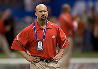 Ohio State Director of Football performance Eric Lichter is pictured during warmups before the game against Arkansas during 77th Annual Allstate Sugar Bowl Classic at Louisiana Superdome in New Orleans, Louisiana on January 4th, 2011.  Ohio State defeated Arkansas, 31-26.