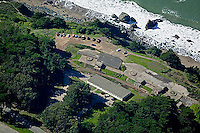 aerial photograph of World War II bunkers in the San Francisco Presidio, Golden Gate National Recreation Area, San Francisco, California