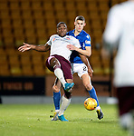 St Johnstone v Hearts…30.10.19   McDiarmid Park   SPFL<br />Loic Damour and Wallace Duffy<br />Picture by Graeme Hart.<br />Copyright Perthshire Picture Agency<br />Tel: 01738 623350  Mobile: 07990 594431