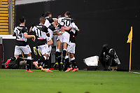 Nahuel Molina of Udinese Calcio celebrates with team mates after scoring the goal of 1-0 during the Serie A football match between Udinese Calcio and Juventus FC at Friuli Stadium in Udine (Italy), May 2nd, 2020. Photo Federico Tardito / Insidefoto