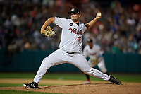 Tri-City ValleyCats relief pitcher Tim Hardy (47) delivers a pitch during a game against the Vermont Lake Monsters on June 16, 2018 at Joseph L. Bruno Stadium in Troy, New York.  Vermont defeated Tri-City 6-2.  (Mike Janes/Four Seam Images)