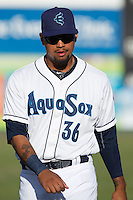 Everett Aquasox outfielder Corey Simpson (36) prior to a game against the Eugene Emeralds at Everett Memorial Stadium in Everett, Washington.  Eugene defeated Everett 7-5. (Ronnie Allen/Four Seam Images)
