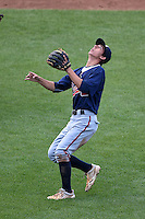 Matthew D. Morales (8) of Wellington High School in Wellington, Florida playing for the Atlanta Braves scout team during the East Coast Pro Showcase on July 31, 2014 at NBT Bank Stadium in Syracuse, New York.  (Mike Janes/Four Seam Images)