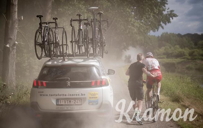 mechanical assistence for Bert Van Lerberghe (BEL/Cofidis)<br /> <br /> Dwars door het Hageland 2019 (1.1)<br /> 1 day race from Aarschot to Diest (BEL/204km)<br /> <br /> ©kramon