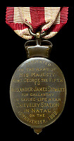 BNPS.co.uk (01202) 558833Pic: DNW/BNPS<br /> <br /> The reverse side of Alexander Stewart's Albert Medal.<br /> <br /> A bravery medal awarded at the behest of Winston Churchill to a train driver who tried to save the future Prime Minister from being captured during the Boer War has come to light.<br /> <br /> A young Churchill roused wounded driver Charles Wagner and engine firemen Alexander Stewart into action after their armoured train was attacked and derailed by enemy soldiers.<br /> <br /> Churchill, then a newspaper war correspondent, talked Wagner out of fleeing the scene and remain in his engine cab in order to clear the blocked line.<br /> <br /> Although he was captured, Churchill later escaped and insisted both men be awarded the Albert Medal.