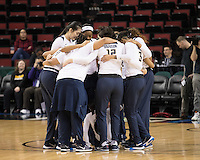 SEATTLE, WA - March 2, 2017: Cal Bears Women's Basketball team vs. the USC Trojans in the Pac-12 Women's Basketball Tournament at Key Arena. Final Score: Cal Bears 71, USC Trojans 58