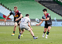 20th February 2021; Twickenham Stoop, London, England; English Premiership Rugby, Harlequins versus Sale Sharks; Marcus Smith of Harlequins throwing the ball to Alex Dombrandt of Harlequins