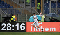 Calcio, Serie A: AS Roma - AC Milan, Roma, stadio Olimpico, 25 febbraio, 2018.<br /> Milan's Davide Calabria celebrates after scoring during the Italian Serie A football match between AS Roma and AC Milan at Rome's Olympic stadium, February 28, 2018.<br /> UPDATE IMAGES PRESS/Isabella Bonotto
