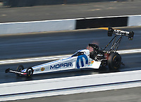 Feb 8, 2020; Pomona, CA, USA; NHRA top fuel driver Leah Pruett during qualifying for the Winternationals at Auto Club Raceway at Pomona. Mandatory Credit: Mark J. Rebilas-USA TODAY Sports