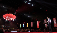 23rd Prime Minister of Canada, the Right Honorable Justin Trudeau delivers a Keynote Address during the final day of the Liberal Biennial Convention at the RBC Convention Centre Saturday May 28, 2016 in Winnipeg.<br /> (David Lipnowski / Agence Québec Presse)