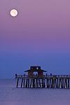 USA, FL, Naples, Full Moon Over Naples Pier