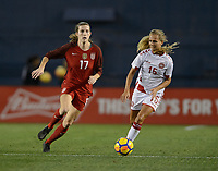 San Diego, Ca - Sunday, January 21, 2018: Tierna Davidson during a USWNT 5-1 victory over Denmark at SDCCU Stadium.