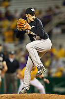 Relief pitcher Daniel Marrs #16 of the Wake Forest Demon Deacons in action against the LSU Tigers at Alex Box Stadium on February 18, 2011 in Baton Rouge, Louisiana.  The Tigers defeated the Demon Deacons 15-4.  Photo by Brian Westerholt / Four Seam Images