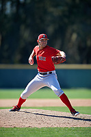 Boston Red Sox pitcher Adam Lau (86) during a minor league Spring Training game against the Baltimore Orioles on March 16, 2017 at the Buck O'Neil Baseball Complex in Sarasota, Florida. (Mike Janes/Four Seam Images)