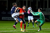 23rd February 2021; Kenilworth Road, Luton, Bedfordshire, England; English Football League Championship Football, Luton Town versus Millwall; Tom Bradshaw of Millwall competes for the ball with goalkeepe Simon Sluga of Luton Town